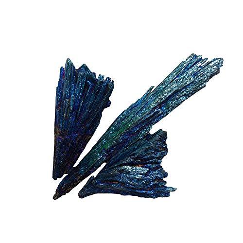 ZGZNB Galvanisierte Schwarze Turmalin Phoenix Feder Kristall Cluster Mineral Probe Höhle Turmalin Pfau blau