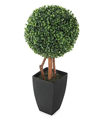 Closer2Nature Artificial 2ft Boxwood Tree Topiary in a decorative Black Pot