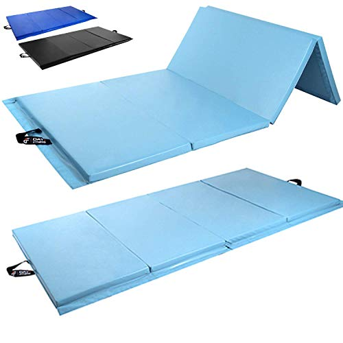 Day 1 Fitness Folding Gymnastics Gym Mat – 2#039x6#039 Light Blue  HighDensity Foam Exercise Yoga Gymnastics Crossfit Aerobics Tumbling Mats  EcoFriendly Foldable Pads