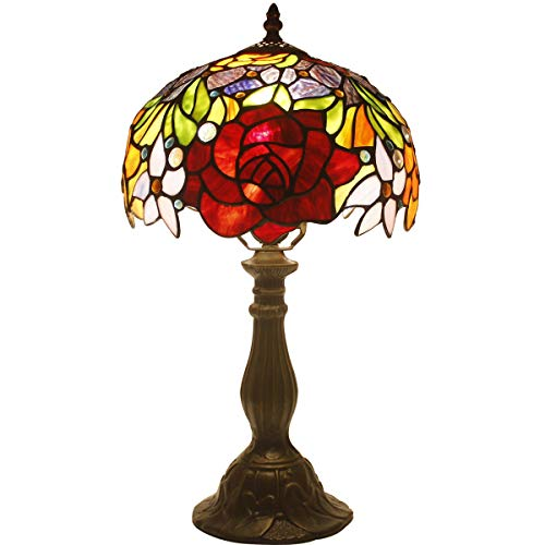 Tiffany Style Table Lamp W10H18 Inch Red Stained Glass Rose Shade Antique Desk Reading Light S001 WERFACTORY Lamps Parent Lover Kid Girlfriend Study Office Living Room Bedroom Bedside Art Craft Gift