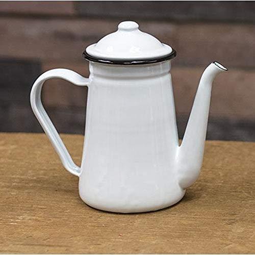 Emaille-Kaffeekanne mit schwarzem Rand, lebensmittelecht, ofen- und spülmaschinenfest, nicht mikrowellengeeignet