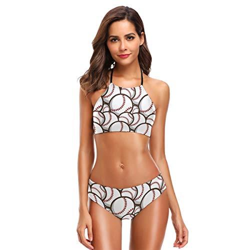 CaTaKu Sport Baseballs Bikini Set Bademode Badeanzug Strandanzug Badeanzug für Teenager Mädchen Frauen - mehrfarbig - XX-Large