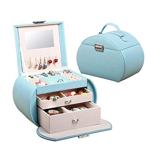 WJLED Multi-Layer Large-Capacity Jewelry Box, Small Jewelry Box with Lock, Mirror Design, Earring Holder, Hanging Key Storage Box,Blue