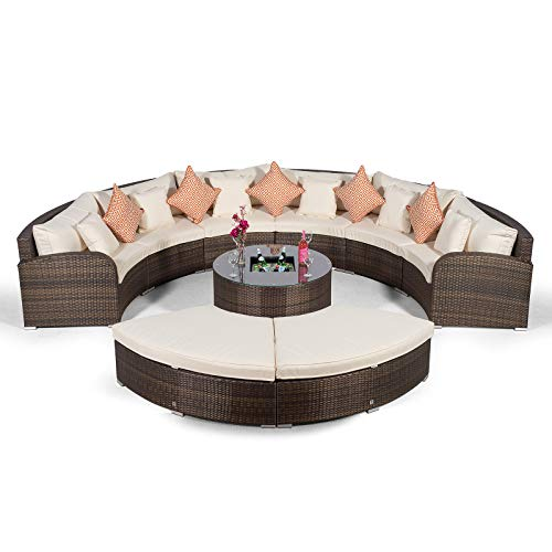 Giardino Riviera 6 Sitzer Rattan Gartenmöbel Set Braun - Sofa, Eiskühler Tisch, 2X Ottoman + Abdeckungen - Halbrundes Garten Loungemöbel Set 9-teilig