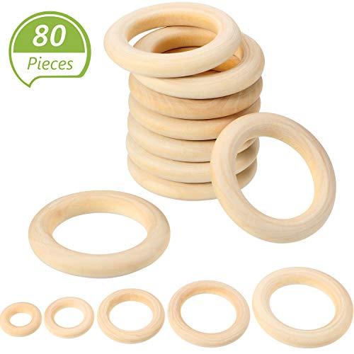 WILLBOND 80 Stück Baby Kinderkrankheiten Ring Unfertige Holz Ringe Glatte Holz Kreise für Baby Spielzeug,Ring Anhänger, DIY Steckverbinder und Schmuck Herstellung