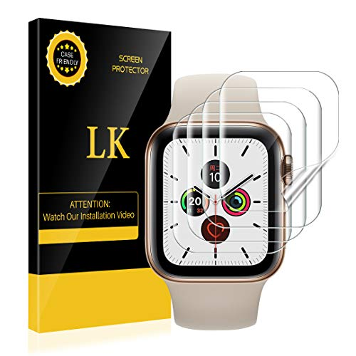 [4 Pack] LK for Apple Watch Screen Protector 40mm 38mm (Series 6/5/4/3/2/1 Compatible), Bubble-Free Max Coverage HD Clear Film [Model Number: UF-0620]