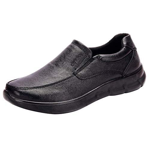 Xuthuly Herren Klassische einfarbige Business-Lederschuhe Lässig Bequeme runde Kappe Slip-On Flache Schuhe