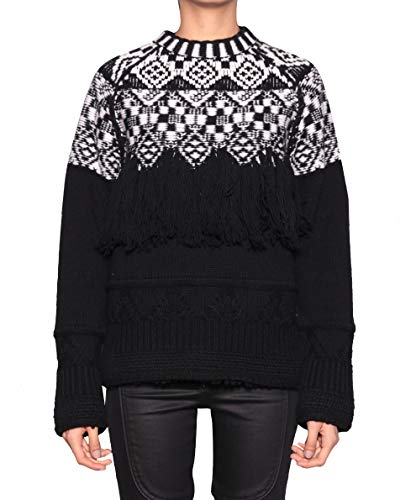 MARCELO BURLON County of Milan Women's Chachai Fringed Sweater Pullover Large Black