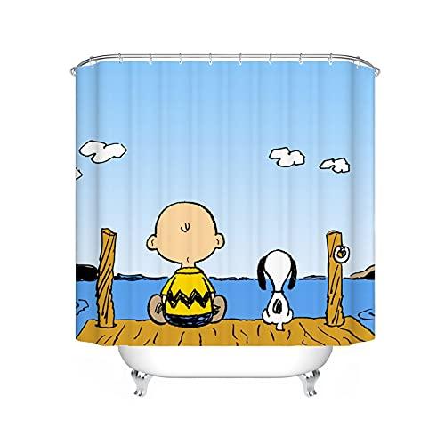 FgolphdCartoon Snoopy Duschvorhang, Anime Snoopy Bunt Shower CurtainsWasserdicht, Duschvorhang180x200180x180 Dekorieren Sie Ihr Badezimmer (180 * 180,2)