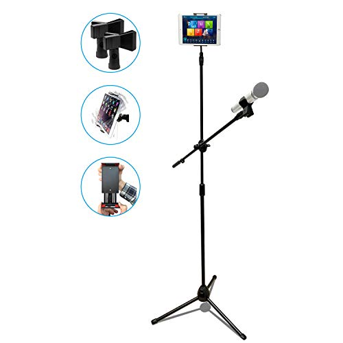 RHM Microphone Stand with Tablet Holder, Lightweight Adjustable Collapsible Tripod Boom Mic Stand with 2 Clips,Extendable Telescopic Boom Arm for Karaoke,Speech,Studio,Party,Wedding