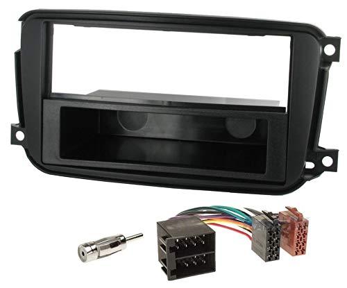 Sound Way Kit Montaggio Autoradio, Mascherina 1 DIN / 2 DIN, Adattatore Connettore ISO, Adattatore Antenna, Compatibile con Smart Car ForTwo dal 2010