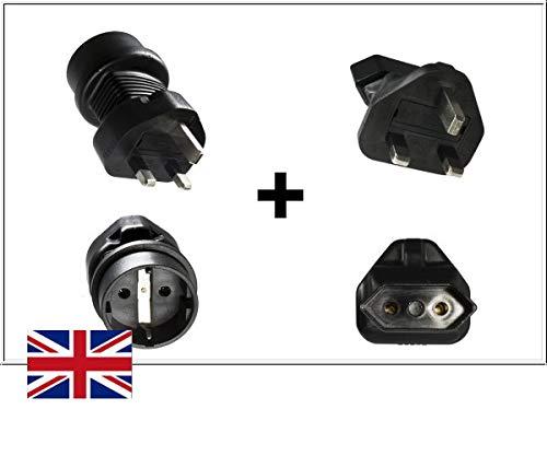 DINIC Reisstekkerset, stroomadapter voor Engeland op geaard stopcontact, UK netadapter 1x 3-polig + 1x 2-polig