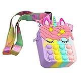 fidget bubble borsa a tracolla 2 in 1 pop it borsa a tracolla pop fidget unicorno, borsa a tracolla per borsa, borse, antistress silicone giocattoli squishy regalo di natale per bambini e adulti