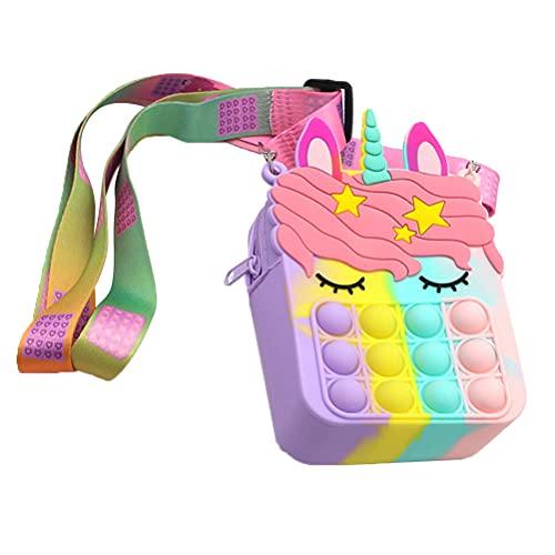 Weesey Pop-in-it Fidget Toys Unicórnio Crossbody para Mulheres Meninas, Push Bubble Sensory Pop Simples Fidget Toy Bolsa de Ombro, Bolsa Pequena de Silicone Bolsa de Alívio de Stress