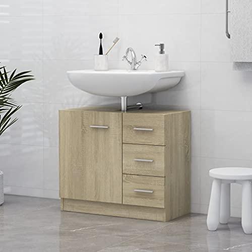 Pedestal Under Sink Storage,Bathroom Vanity Space Saver Organizer Cabinet,Sink Cabinet Sonoma Oak 24.8