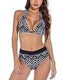 UMIPUBO Traje de baño de mujer Push Up acolchado traje de playa dos piezas Brasiliana Bikini Halter Sexy Playa Beachwear Swimwear Negro S