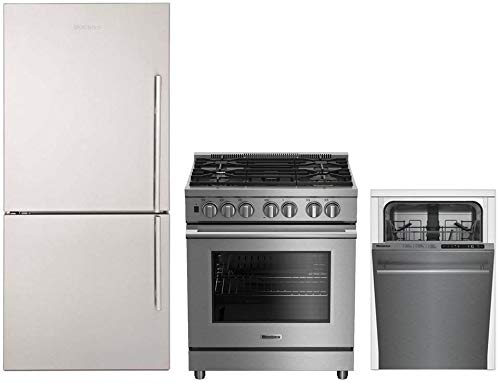 """Blomberg 3-Piece Kitchen Appliances Package with BRFB1812SSLN 30"""" Bottom Freezer Refrigerator, BGRP34520SS 30"""" Gas Range and DWS51500SS 18"""" Built In Fully Integrated Dishwasher in Stainless Steel"""