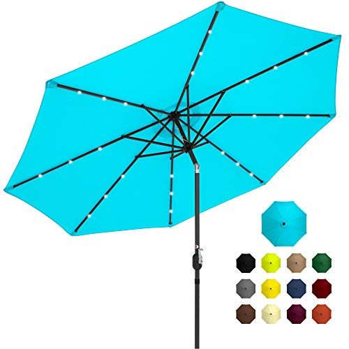 Best Choice Products 10ft Solar Powered Aluminum Polyester LED Lighted Patio Umbrella w/Tilt Adjustment and Fade-Resistant Fabric, Light Blue