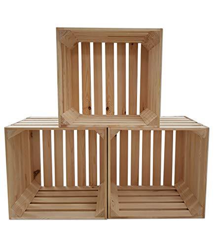 Odolplusz Caja de madera para vino o fruta, 40 x 38 x 30 cm, madera natural, 1 unidad