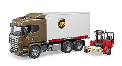 Bruder 03581 - Scania R-Serie UPS Logistik-LKW mit Mitnahmestapler