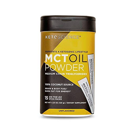 Keto Science Mct Oil Powder, from Pure Coconut, Medium Chain Triglycerides, Burn Fat for Energy, Boost Brain Power, Convenient On The Go Stick Pack, 15 Servings
