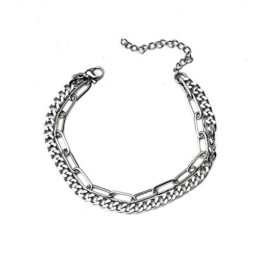 Hip-hop de acero de titanio simple y versátil cadena de doble capa pulsera de acero inoxidable que no se desvanece pulsera de pareja para hombres y mujeres Regalos para mamá, esposa, novia.