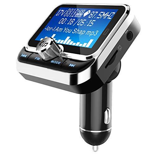 ZALAGA Transmisor FM para Coche con Control Remoto LCD Reproductor MP3 Dual USB Modulador FM para Coche