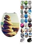 Grafner® MDF WC Sitz mit Absenkautomatik viele schöne Motive zur Auswahl - stabile Qualität - einfache Montage WC Deckel Klobrille Softclose (Six Stones)