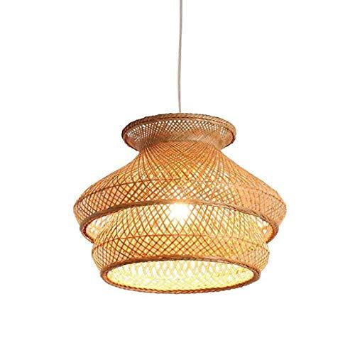 DKORP Lámpara Colgante de bambú Hecha a Mano, lámpara Colgante de Mimbre de Mimbre para Techo