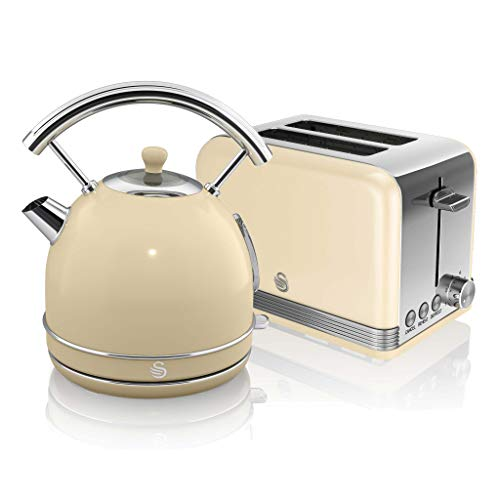 Swan, Retro Kitchen Kettle and Toaster Set, 1.8L Dome Kettle, 2 Slice Toaster, (Cream)