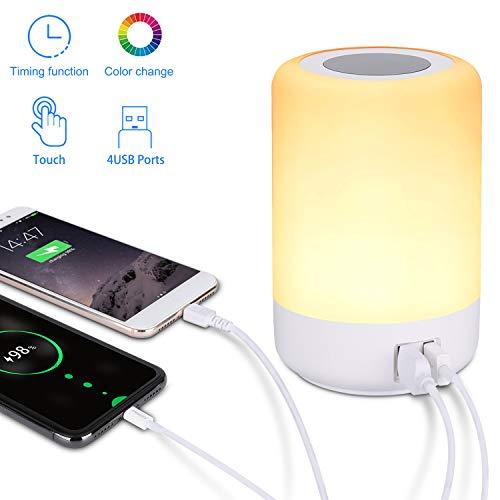 Led Smart Touch Lampe, mit 4 USB Ladeanschlüssen, usb ladegerät mehrfach licht, nachttischlampe ladefunktion Lamp, dimmbarem 3 stufigem warmweißem Licht, sieben farbwechselnden RGB (EU plug)