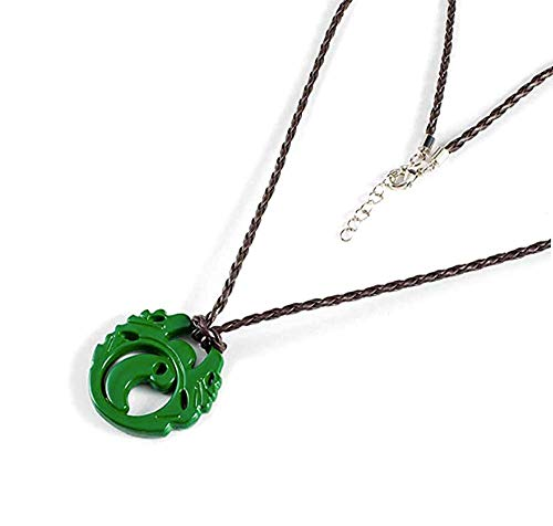 Mesky Lara Croft Necklace Shadow of the Tomb Raider Cosplay Accessories Green Zinc Alloy Pendant with Braided Rope for Women Clothing Collection Gifts Box