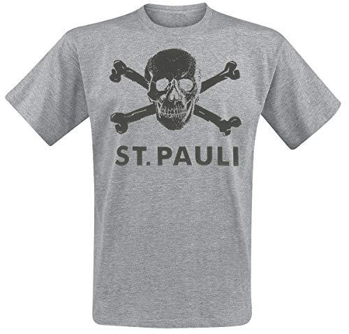 FC St. Pauli Skull Hombre Camiseta Gris/Melé L, 100% algodón, Regular