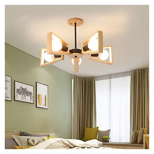 Lámparas LED de madera nórdicas Lámpara de madera maciza Simple Simple Creative Personalidad Ropa Tienda Sala Sala Comedor Habitación Lámpara de techo (Color : 5 heads)