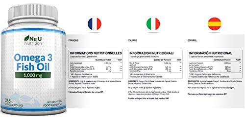 Omega 3 Fischöl 1000 mg von Nu U, 365 Kapseln (Versorgung für 12 Monate) – 100% GELD-ZURÜCK-GARANTIE – Maximale Stärke und Aufnahmefähigkeit – Hergestellt in Großbritannien - 3