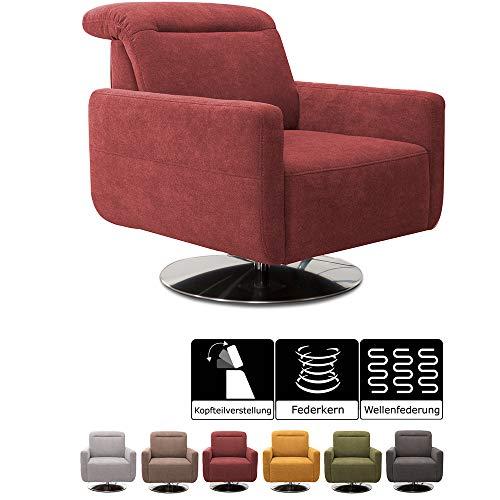 CAVADORE Sessel Gizmo / Drehsessel mit verstellbarer Kopfstütze und Federkern / 78 x 86 x 100 / Jacquard, rot