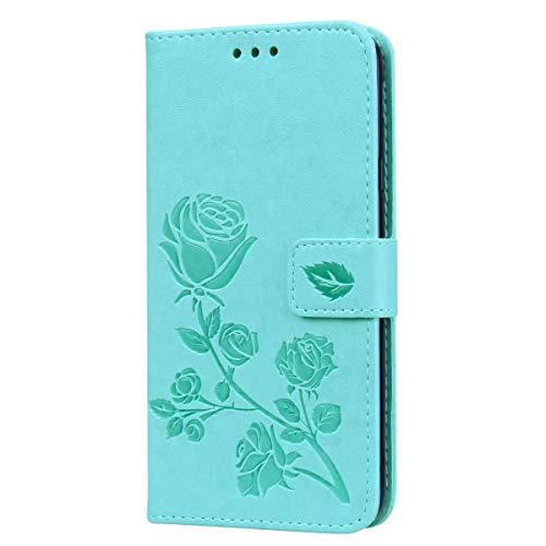 Funda para Samsung Galaxy M01, a prueba de golpes, piel sintética, con función atril, ranura para tarjeta, portátil, funda protectora para Samsung Galaxy M01, color verde