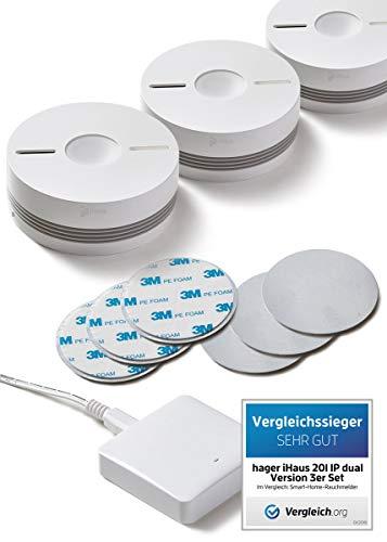 iHaus Rauchmelder & Wärmemelder 3ER Set - per Funk vernetzbar + Rauch- & Hitze Dualmelder + WLAN...