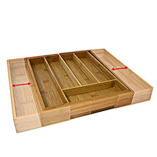 Relaxdays Caja de cubiertos de bambú, inserto de cubiertos extraíble como organizador de cocina, inserto de cajón 33.5x29-48x5 cm, natural