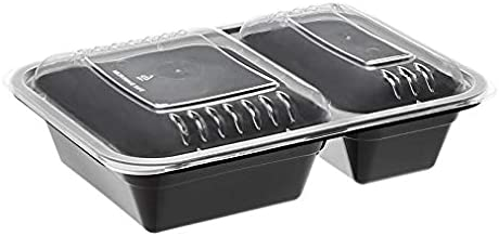 Amazon Basics 2 Compartment Meal Prep Containers - BPA Free, Microwave/Dishwasher/Freezer Safe, 32 ounces, 20-Pack