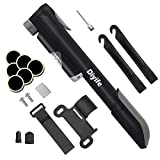 Diyife Bike Pump with Pressure Gauge, [No Valve Changing Needed] Mini Bicycle Pump