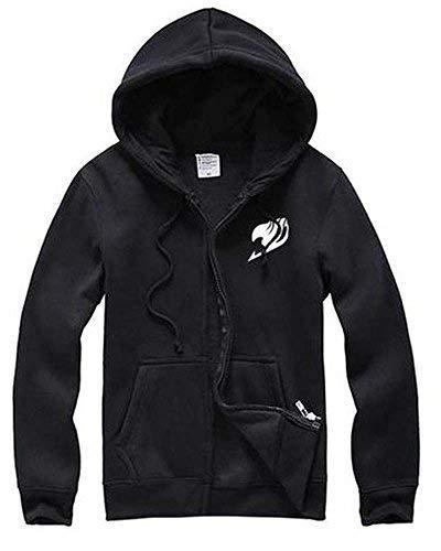 Ya-cos Fairy Tail F&C Happy Bag Lovers Fleece Casual Zipper Jacket Coat,Black, Large