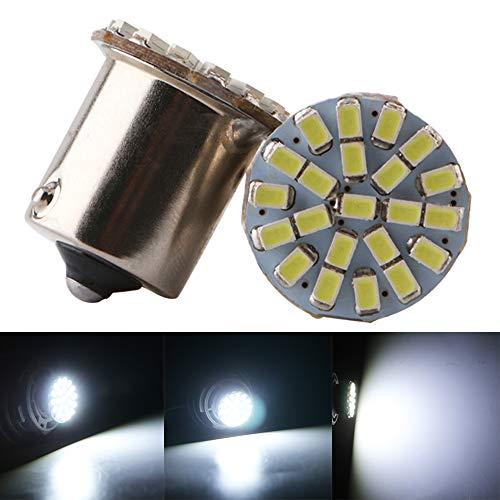 Qasim 10x LED 1156 BA15S P15W P15W 1141 Coche Bombillas Universales para Luz de Marcha Atrás Señal de Giro Posicion Freno como Intermitentes 2406 22SMD 176LM 24V Blanco