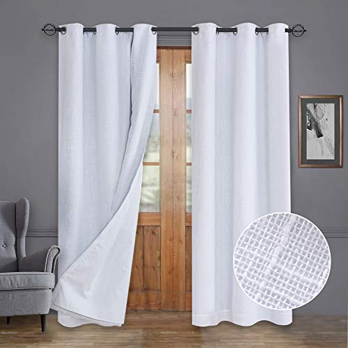 Rose Home Fashion Primitive Linen Look, 100% Blackout Curtain(with Liner), White Blackout Curtains&Thermal Insulated Curtains for Living Room/Bedroom,Burlap Curtains-42x84, White, Set of 2 Panels