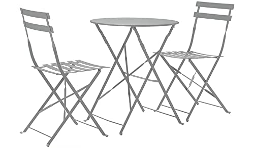 GSD Eve Metal Bistro Garden Set Folding 3pc Set. Perfect For Patios or Balconies! - Choice Of Colours (Grey)