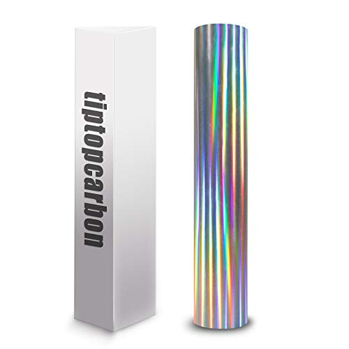 Holographic Vinyl Permanent Adhesive Vinyl Roll for Craft Cutters Decals Letters 12 x 6ft Silver