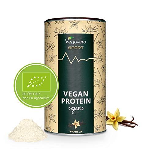 Protéines Vegan BIO Vegavero® | 80% de Protéines BIO de Pois et de Riz | Sans Édulcorants/Soja | Alternative à la Whey Protein | Avec Cuillère Doseur | Solubles et Digestibles | Vanille | 500 g