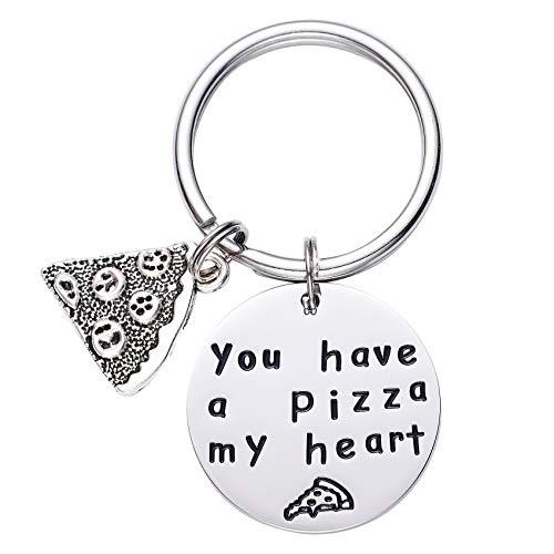 LParkin - Portachiavi con scritta 'You Have a Pizza My Heart' per anniversario di pizza, fidanzato, marito, regalo per lui e amanti della pizza