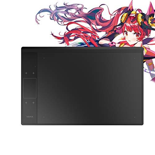 VEIKK Tableta gráfica A30 con Touch Pad gestual, 4 teclas de selección rápida, área de trabajo de 10 x 6 pulgadas, lápiz sin batería