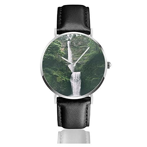 快適なPuレザーストラップ付きメンズレディースノベルティウォッチ、ファッションクォーツビジネスクラシックギフト腕時計-マルトノマ滝